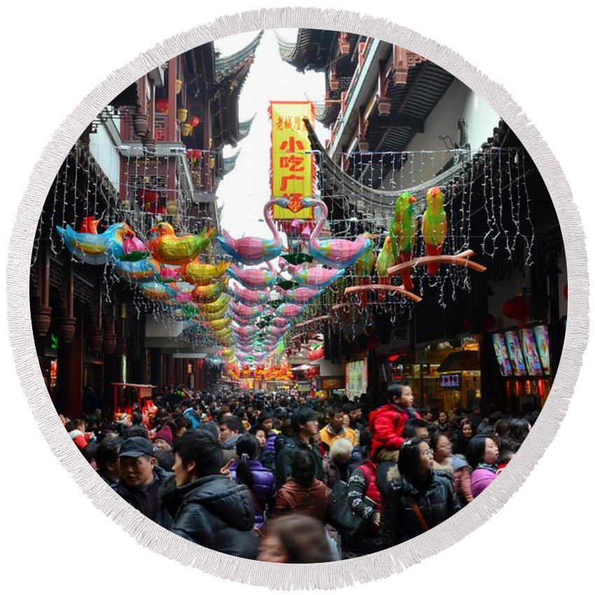 Temple Round Beach Towel featuring the photograph Crowds Throng Shanghai Chenghuang Miao Temple Over Lunar New Year China by Imran Ahmed