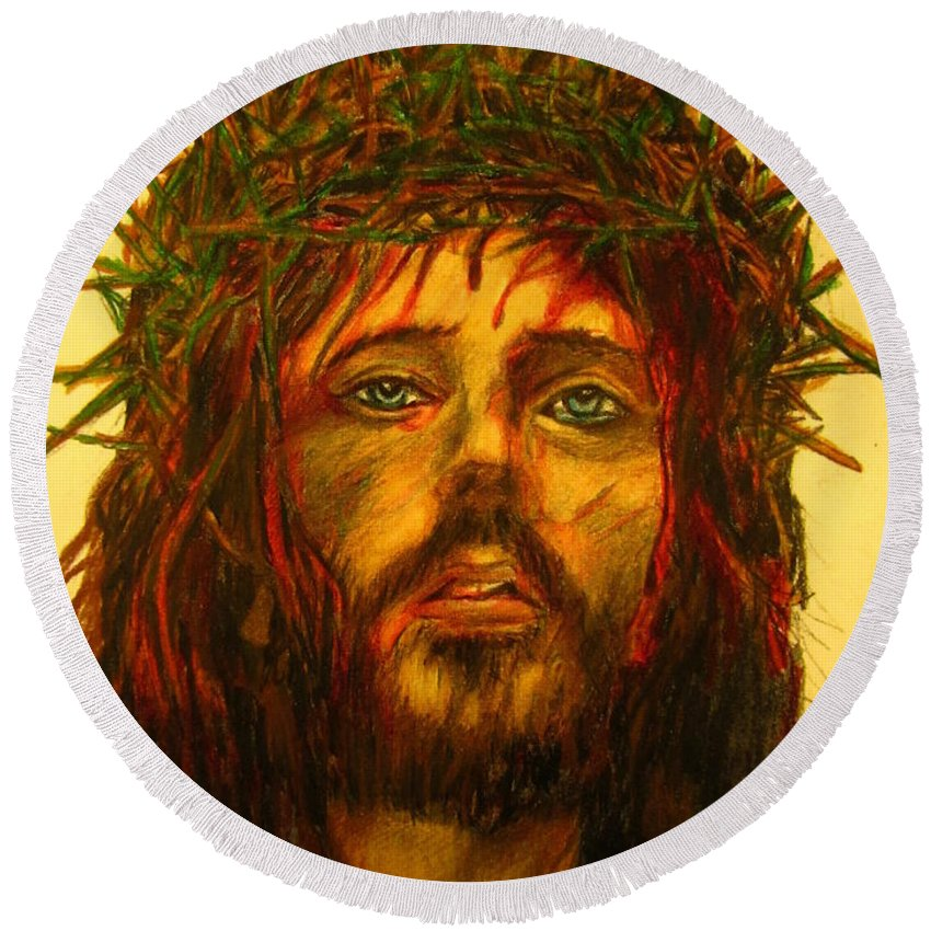 Crown Of Thorns Round Beach Towel featuring the drawing Crown Of Thorns by John Malone