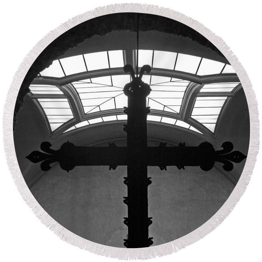 Crucifix Round Beach Towel featuring the photograph Crucifix And Skylight by Dave Mills