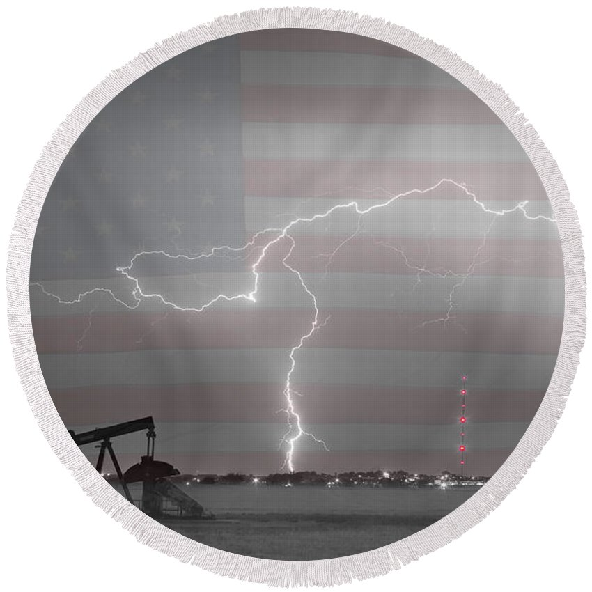 Lightning Round Beach Towel featuring the photograph Crude Oil And Natural Gas Striking Across America Bwsc by James BO Insogna