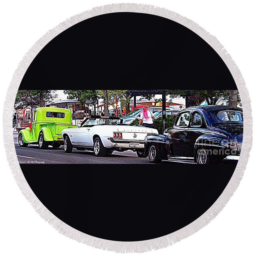 Classic Car Event Round Beach Towel featuring the photograph Cruise Line by Bobbee Rickard