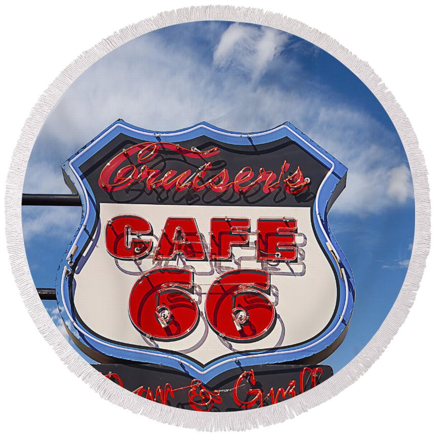 Sign Round Beach Towel featuring the photograph Cruisers Cafe 66 Sign by Janice Pariza