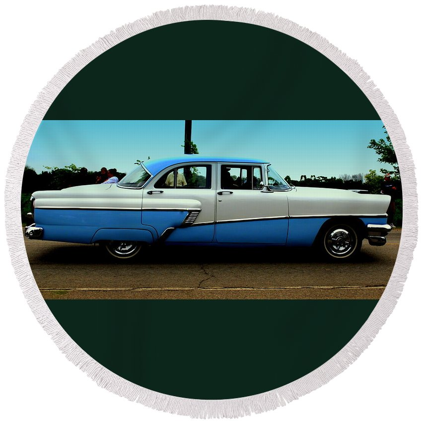 Cruising Round Beach Towel featuring the photograph Cruising Down The Road by Scott Polley