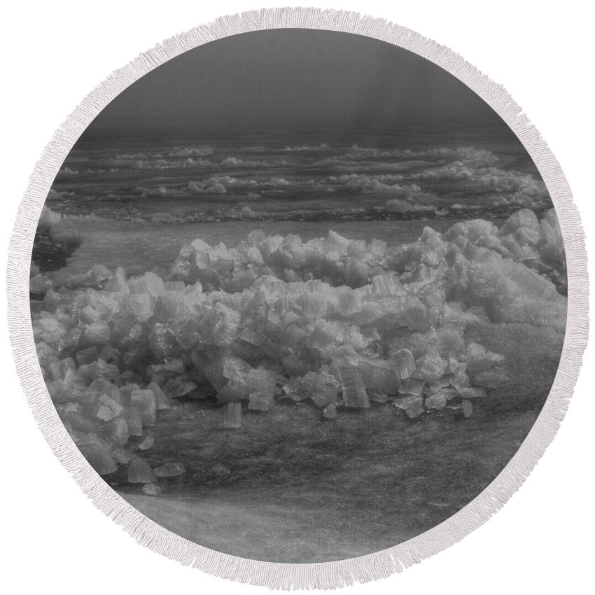 Ice Heave Round Beach Towel featuring the photograph Crushed Ice 2 by Thomas Young