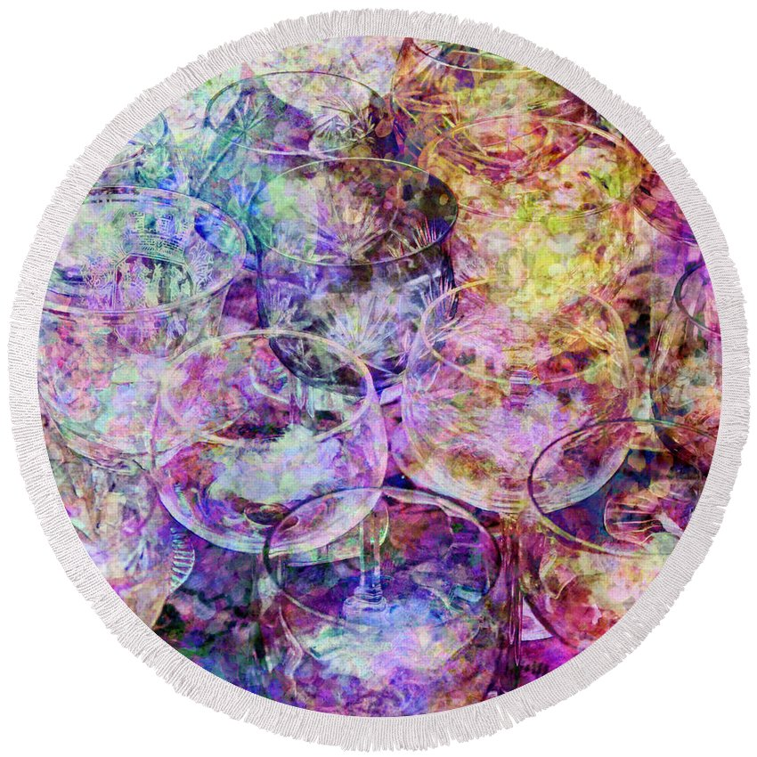 Glassware Round Beach Towel featuring the digital art Crystal by Barbara Berney