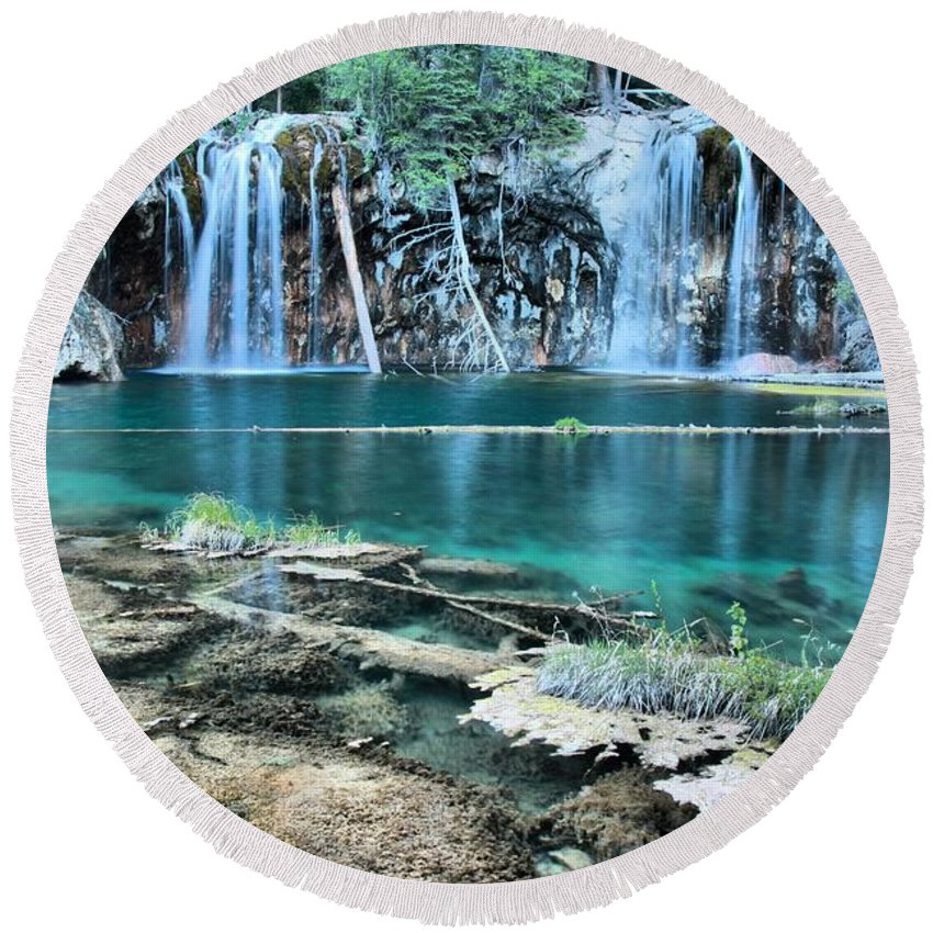 Hanging Lake Round Beach Towel featuring the photograph Crystal Blue Waters by Adam Jewell