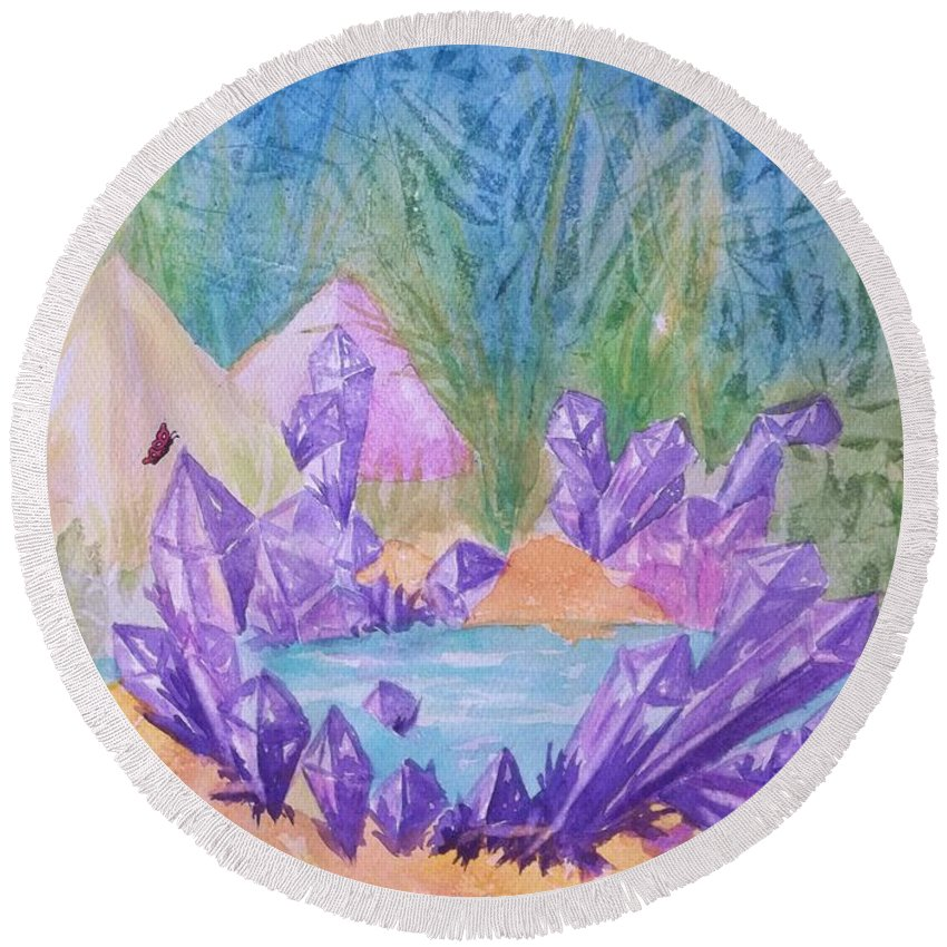 Lake Round Beach Towel featuring the painting Crystal Lake by Ellen Levinson