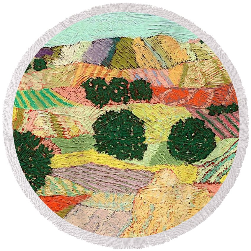 Landscape Round Beach Towel featuring the painting Crystal Mountain by Allan P Friedlander
