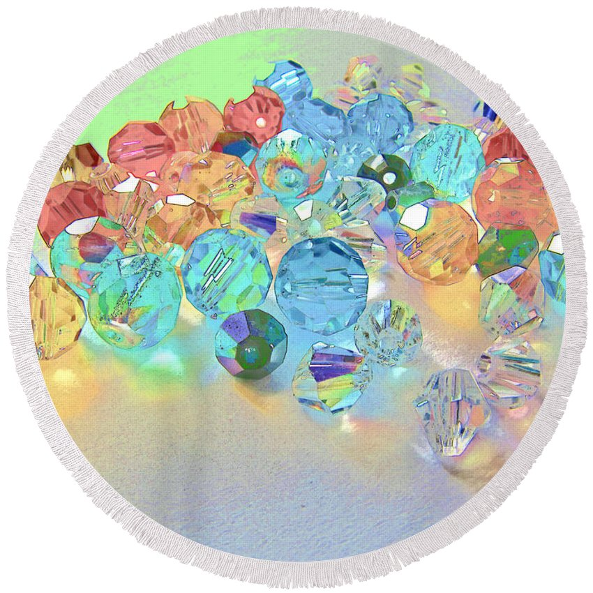 Beads Round Beach Towel featuring the photograph Crystallized II by Debbie Portwood