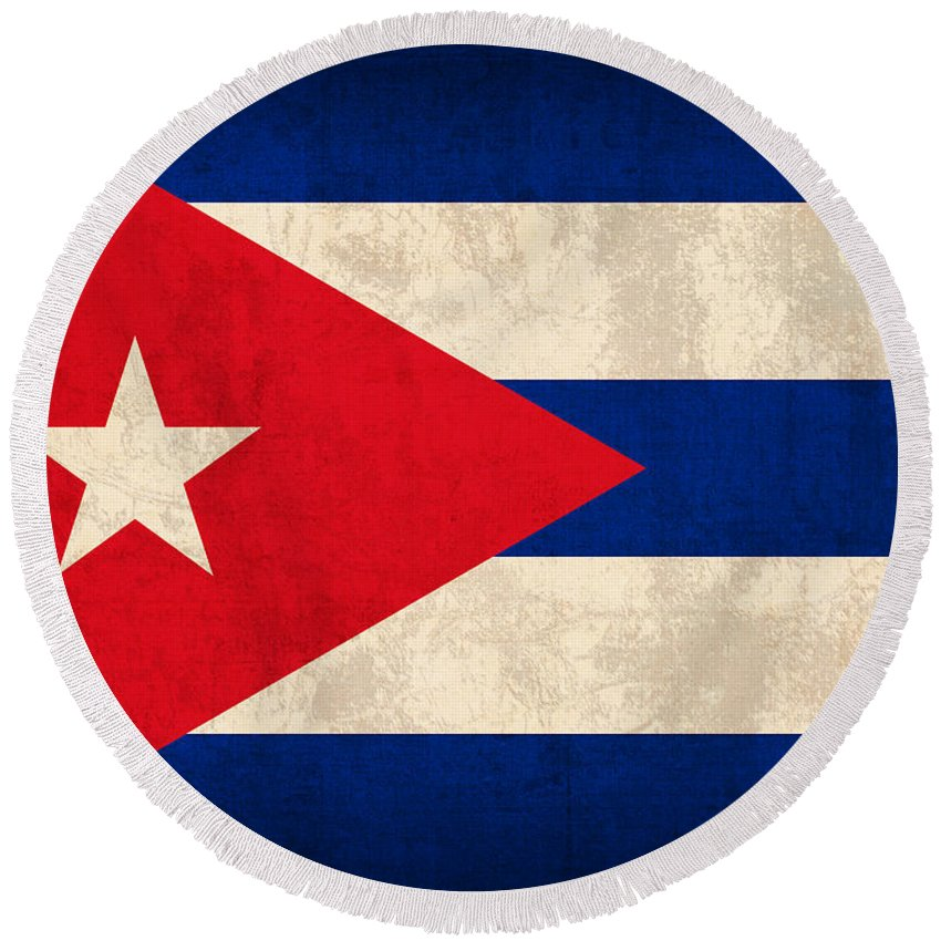 Cuba Round Beach Towel featuring the mixed media Cuba Flag Vintage Distressed Finish by Design Turnpike