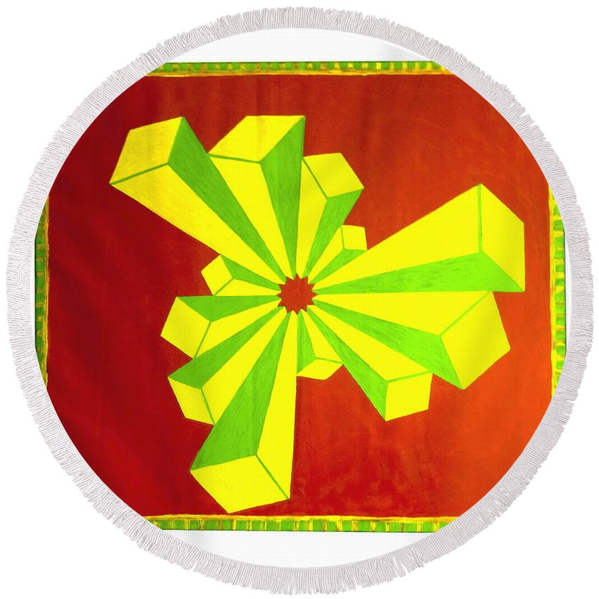 Cubism Round Beach Towel featuring the painting Cubism In Wheat-shire by MERLIN Vernon