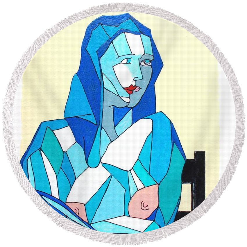 Original Round Beach Towel featuring the painting Cubistic Blue Lady by Roberto Prusso