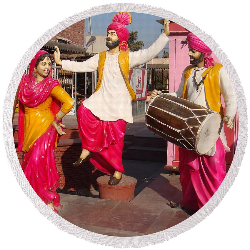 Punjab Round Beach Towel featuring the photograph Culture Of Punjab by Bliss Of Art