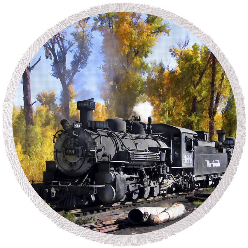 Train Round Beach Towel featuring the photograph Cumbres And Toltec Railroad by Kurt Van Wagner