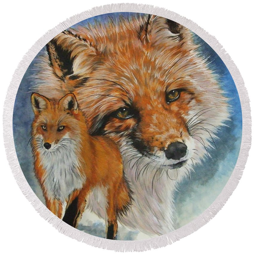 Fox Round Beach Towel featuring the mixed media Cunning by Barbara Keith
