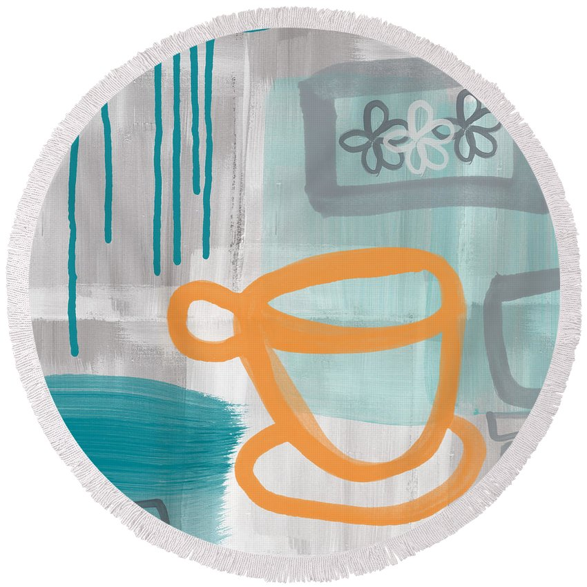Coffee Round Beach Towel featuring the painting Cup Of Happiness by Linda Woods