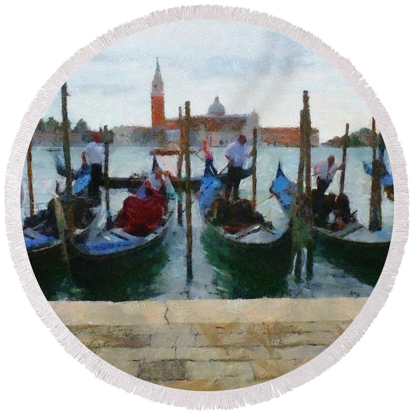 Adriatic Round Beach Towel featuring the painting Curbside Parking by Jeffrey Kolker