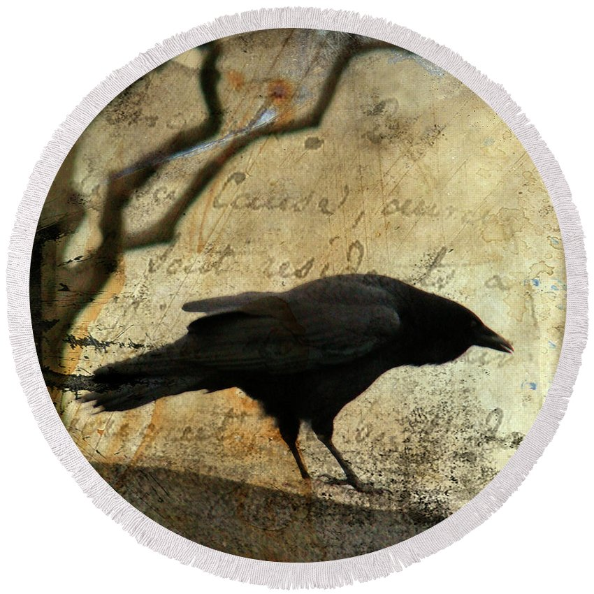 Blackbird Round Beach Towel featuring the digital art Curious Crow by Gothicrow Images