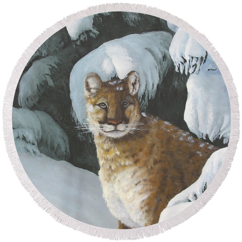Wildlife Round Beach Towel featuring the painting Curious Watcher - Cougar by Johanna Lerwick