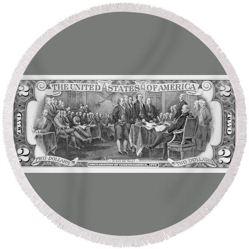 1776 Round Beach Towel featuring the photograph Currency: Two Dollar Bill by Granger