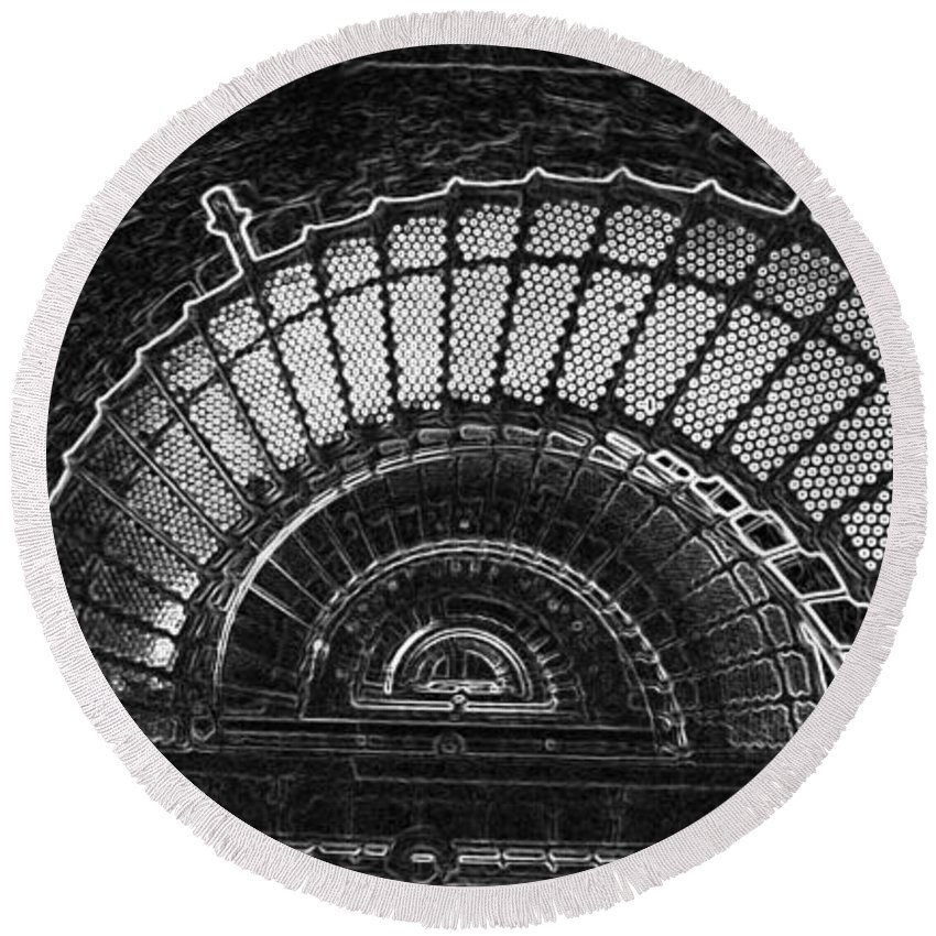 Currituck Lighthouse Round Beach Towel featuring the photograph Currituck Lighthouse Stairs by Greg Reed