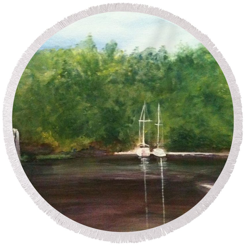Plein Aire Round Beach Towel featuring the painting Curtain's Marina by Sheila Mashaw