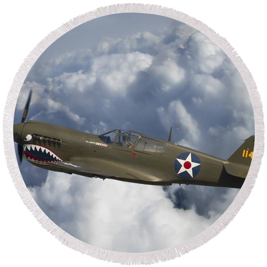 3scape Photos Round Beach Towel featuring the photograph Curtiss P-40 Warhawk Flying Tigers by Adam Romanowicz