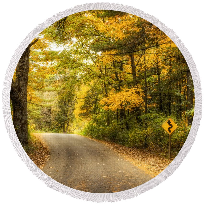 Autumn Round Beach Towel featuring the photograph Curves Ahead by Scott Norris