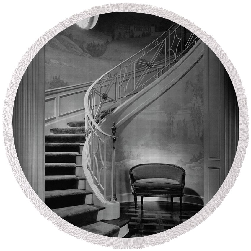 Interior Round Beach Towel featuring the photograph Curving Staircase In The Home Of W. E. Sheppard by Maynard Parker