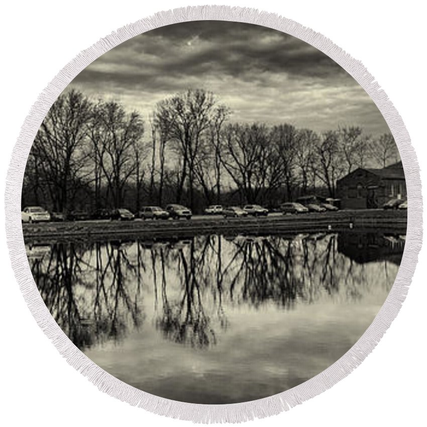 Joshua House Photography Round Beach Towel featuring the photograph Cushwa Basin C And O Canal Black And White by Joshua House