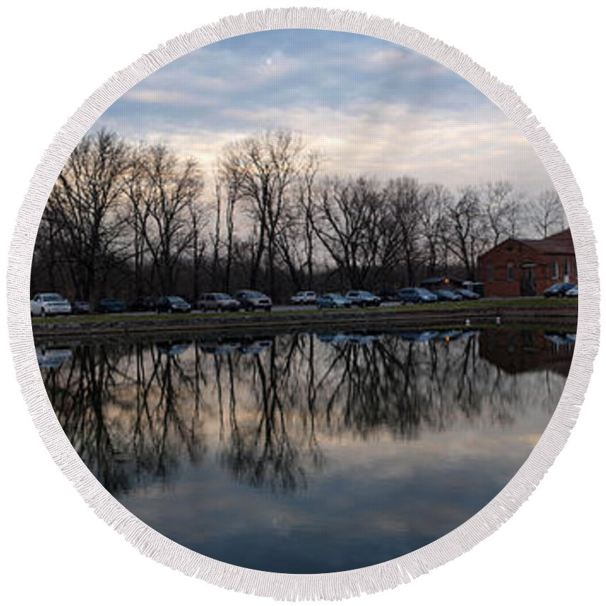Joshua House Photography Round Beach Towel featuring the photograph Cushwa Basin C And O Canal by Joshua House