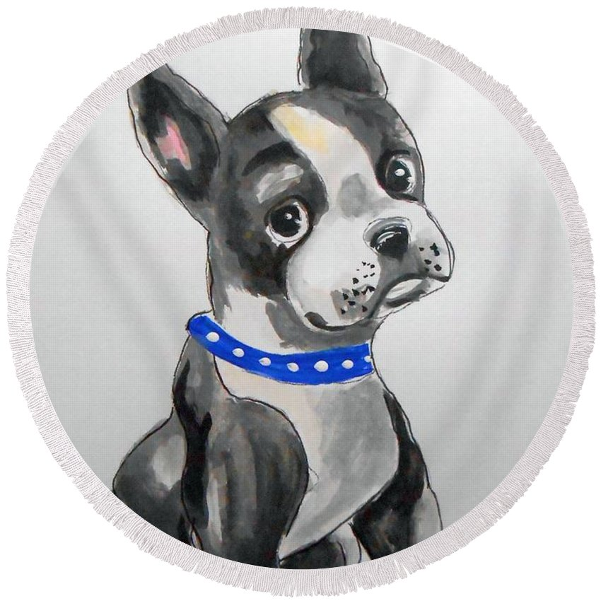 Boston Terrier Round Beach Towel featuring the painting Boston Terrier Wall Art by Rita Drolet