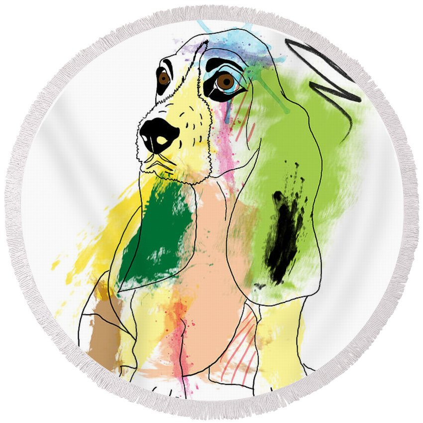 Pop Art Round Beach Towel featuring the digital art Cute Dog 2 by Mark Ashkenazi
