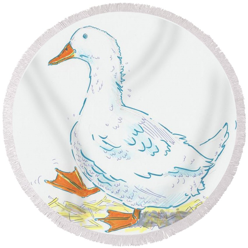 Duck Round Beach Towel featuring the drawing Cute Duck Cartoon by Mike Jory