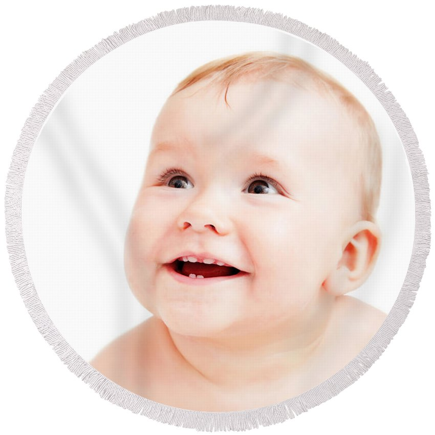 Baby Round Beach Towel featuring the photograph Cute Happy Baby Smiling On White by Michal Bednarek