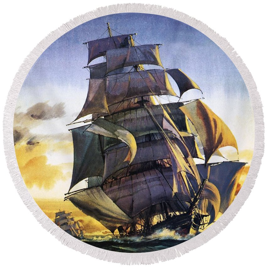 Cutty Sark Round Beach Towel featuring the painting Cutty Sark by English School