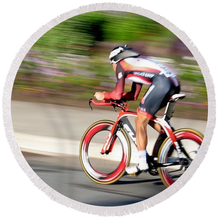 Cycling Round Beach Towel featuring the photograph Cyclist Time Trial by Kevin Desrosiers