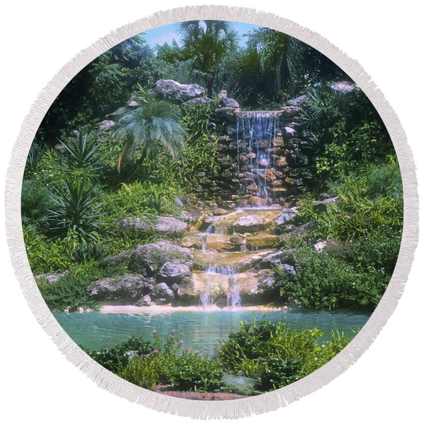 Cypress Gardens Winter Haven Florida Waterfall Waterfalls Pond Ponds Water Tree Trees Flower Flowers Plant Plants Landscape Landscapes Round Beach Towel featuring the photograph Cypress Garden Waterfalls by Bob Phillips
