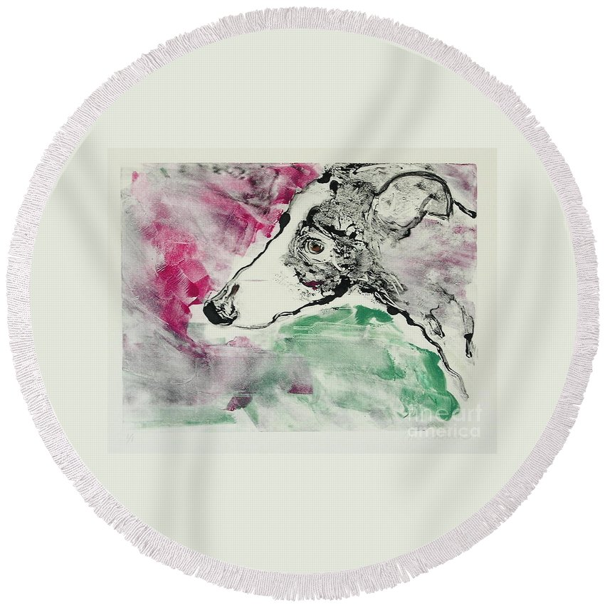 Greyhound Round Beach Towel featuring the painting Cyrus by Cori Solomon