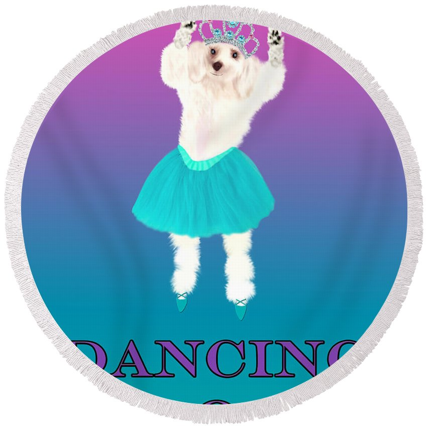 D Is For Dancing Dog Round Beach Towel featuring the digital art D Is For Dancing Dog by Mechala Matthews