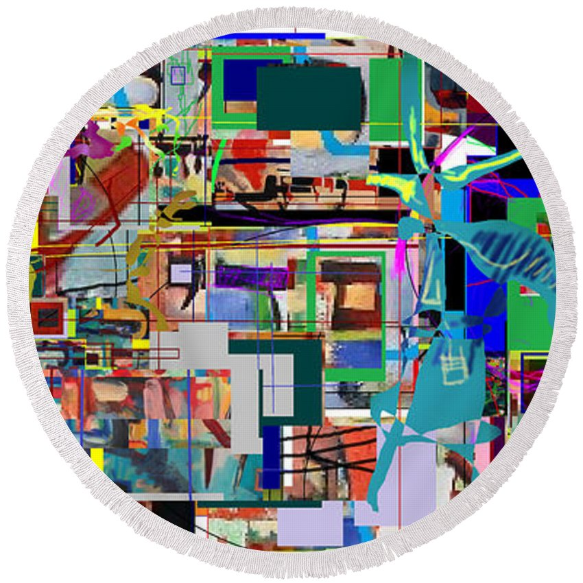 Daas Round Beach Towel featuring the digital art Daas 7a by David Baruch Wolk