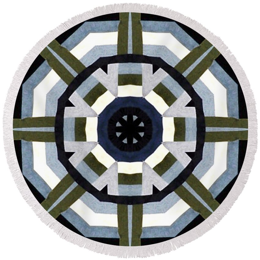 Denims Round Beach Towel featuring the photograph Daddy's Denims Quilt by Barbara Griffin