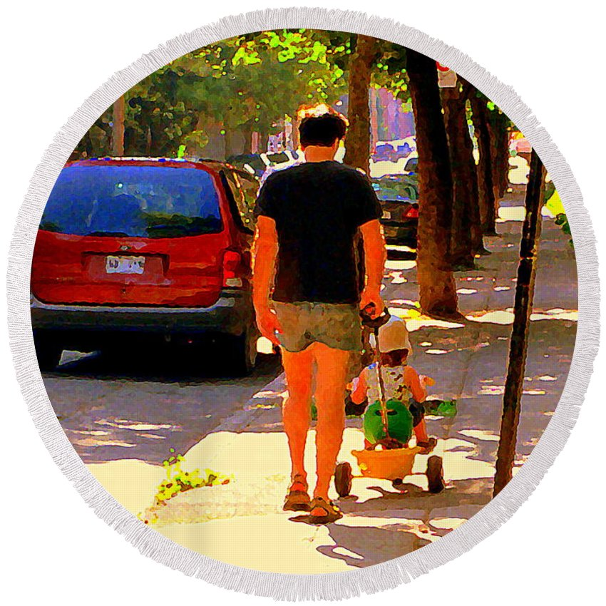 Montreal Round Beach Towel featuring the painting Daddy's Little Buddy Perfect Day Wagon Ride Montreal Neighborhood City Scene Art Carole Spandau by Carole Spandau