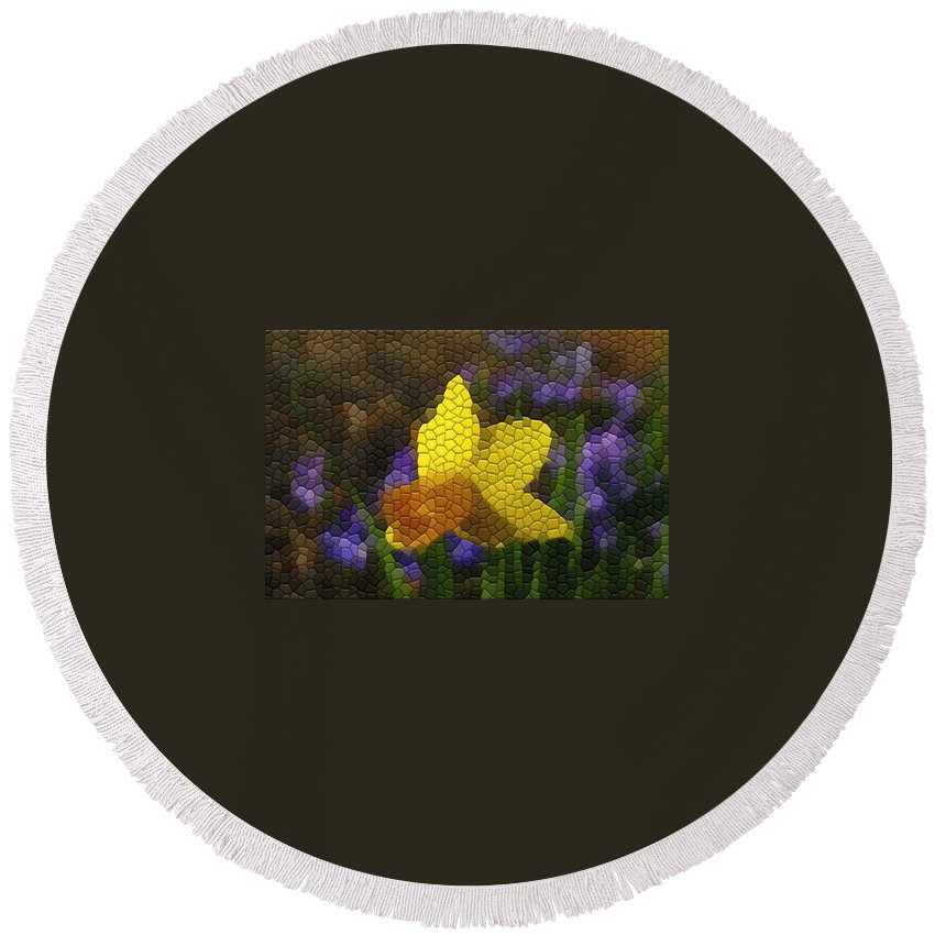 Mosaic Round Beach Towel featuring the photograph Daffies And Blue Chionodoxas by Kathryn Meyer