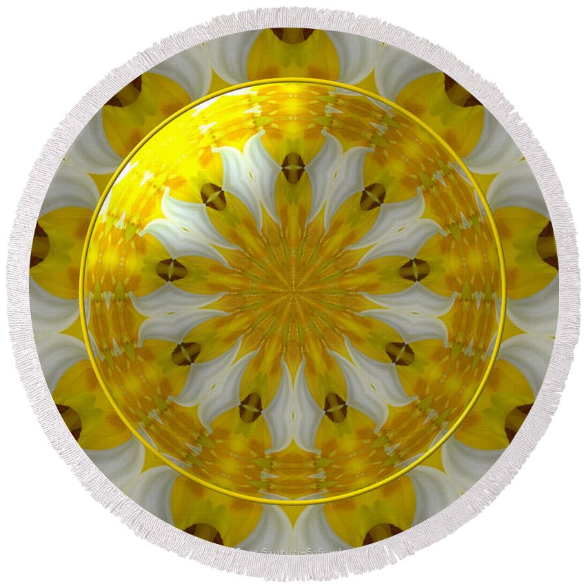 Daffodils Round Beach Towel featuring the photograph Daffodil And Easter Lily Kaleidoscope Under Glass by Rose Santuci-Sofranko