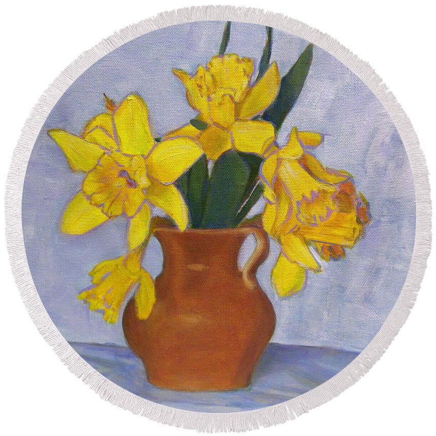 Daffodils Round Beach Towel featuring the painting Daffodils by Robie Benve
