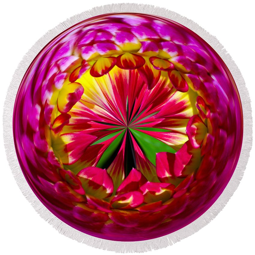 Pink Round Beach Towel featuring the photograph Dahlia Star Burst by Tikvah's Hope