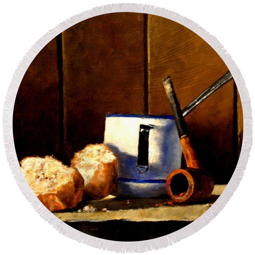 Still Life Round Beach Towel featuring the painting Daily Bread Ver 1 by Jim Gola