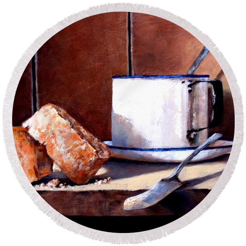 Still Life Round Beach Towel featuring the painting Daily Bread Ver 2 by Jim Gola