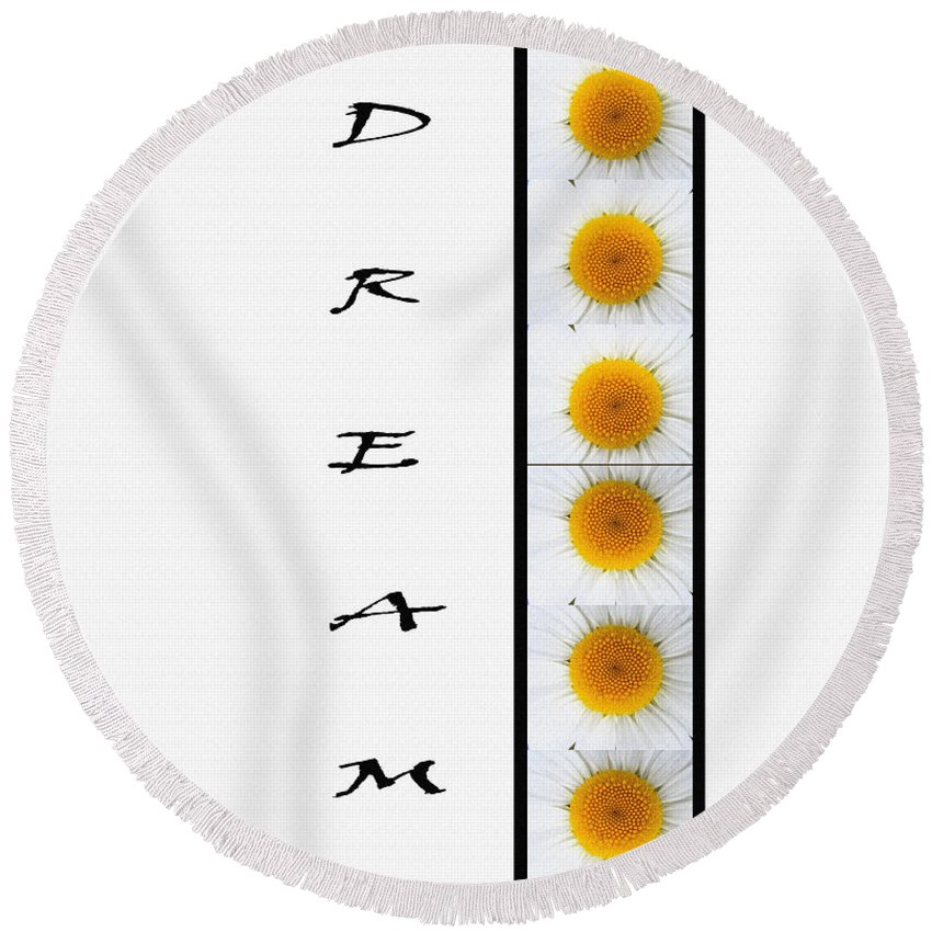 Daisies Dream Round Beach Towel featuring the digital art Daisies Dream by Barbara Griffin
